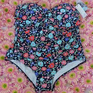 Anne Cole One Piece Floral Twist Bandeau Swimsuit